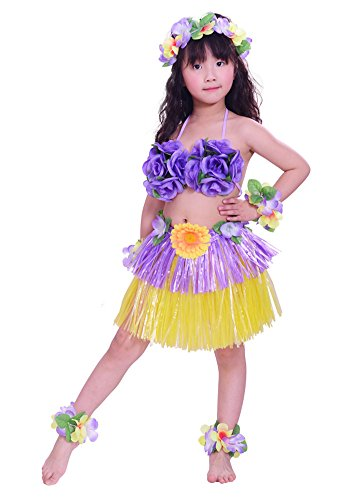 Tahitian Hula Costume (Fighting to Achieve Girls Artificial Hula Costume 7pcs/11.8