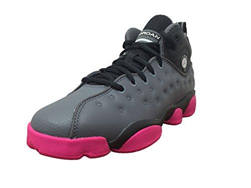 Jordan Nike Kids Jumpman Team II (GS) Dark Grey/Vivid Pink/Blk Basketball Shoe 7 Kids US