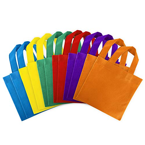 - Assorted Colorful Solid Blank Canvas Party Gift Tote Bags Rainbow Colors with Handles for Birthday Favors, Snacks, Decoration, Arts & Crafts, Event Supplies (12 Bags) by Super Z Outlet (8