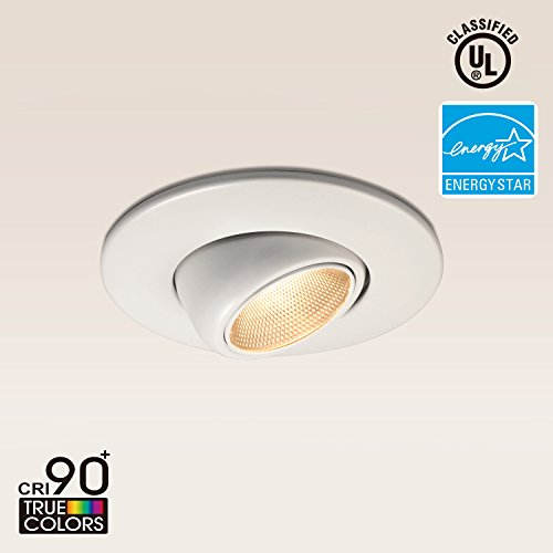 TORCHSTAR High CRI90+ 6inch Dimmable Gimbal Recessed LED Downlight, 10W (75W Equiv.), ENERGY STAR, 2700K Soft White, 800lm, Adjustable LED Retrofit Lighting Fixture, 5 YEARS (Gimbal Spotlight)