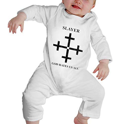 Newborn Baby Slayer God Hates Us All Disciple Print Long Sleeve Romper Bodysuit Jumpsuit White ()