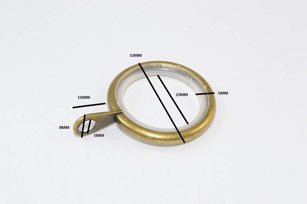 6 x Silent Pole Rod Rings Fixed Eye Antique Brass Finish ID 25mm OD 32mm