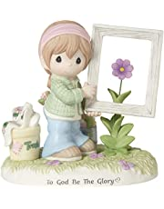 Precious Moments Girl Holding Frame Around Flower 182013 to God Be The Glory Bisque Porcelain Figurine, Multi