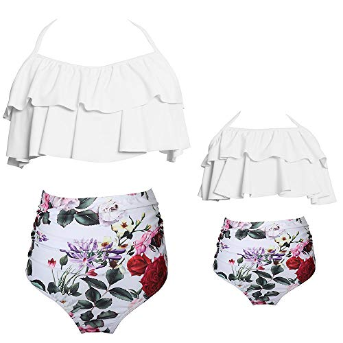 2Pcs Mommy and Me Matching Family Swimsuit Ruffle Women Swimwear Kids Toddler Bikini Bathing Suit Beachwear Sets (Floral White, Girl 2-3 T)
