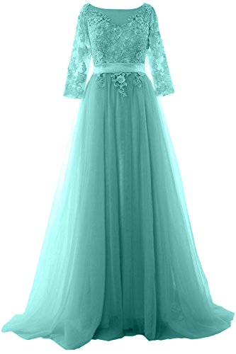 MACloth Elegant Half Sleeve Prom Dress Lace Tulle Maxi Evening Formal Gown Turquoise bRtnK0WHOd