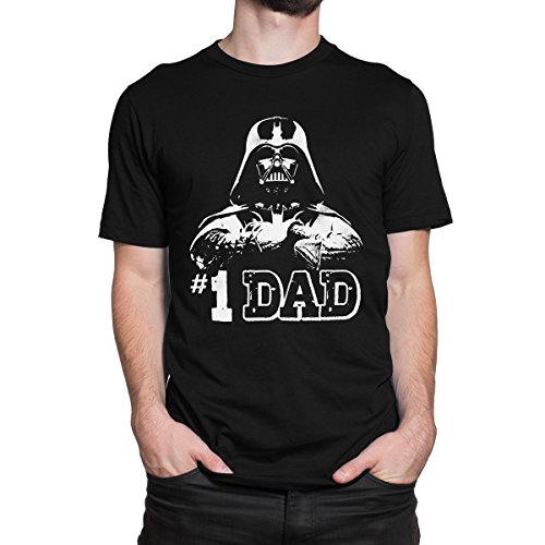 [STAR WARS #1 DAD DARTH VADER Men's PRINT HAUS T-shirt (LARGE, BLACK)] (Cheap Star Wars Shirts)