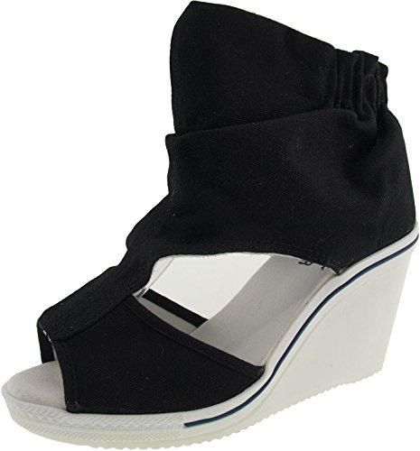 Maxstar Wrinkledd Canvas Side Open Toe Wedge Heel Ankle Sandals Black 8.5 B(M) US Womens