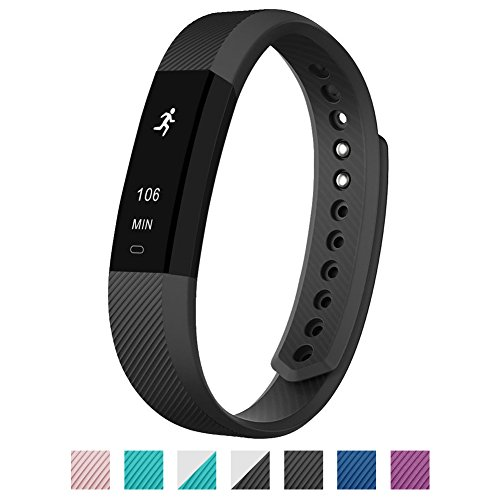 EiffelT Fitness Tracker, Activity Health Tracker with Sleep Monitor Smart Band for Andorid or iOS Smartphones (Black)