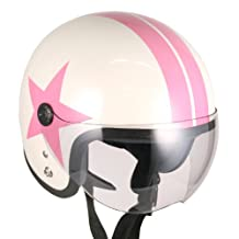 Pilot Style Open Face Motorcycle Helmet (White Pink-star, Large) Model No.jet-bb