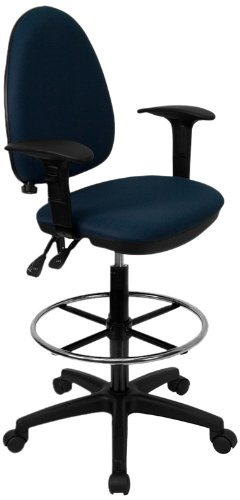 Flash Furniture Mid-Back Navy Blue Fabric Multifunction Drafting Chair with Adjustable Lumbar Support and Adjustable Arms