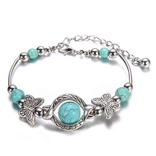 Myhouse Natural Stone Charm Bracelet Bangle Handmade Bracelet for Women Girls