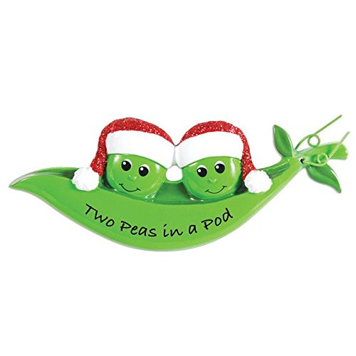 (Peapod Family 2 Personalized Christmas Ornament)