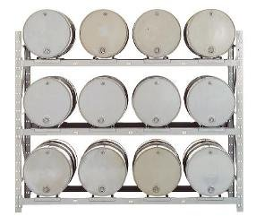 Meco Rack (MECO DPR12A Convertible add on drum rack quickly converts to pallet rack or mixed storage. Includes beams, drum cradles and one upright frame. 12 drum capacity, 3 shelves, dimensions are 84