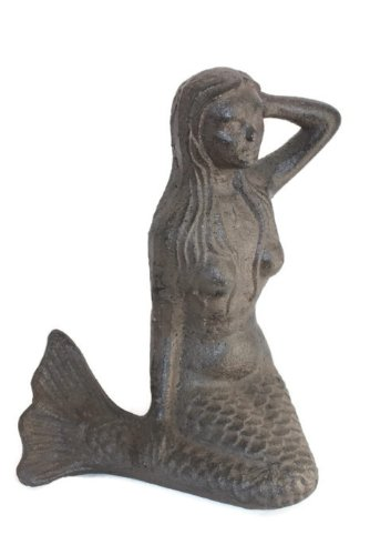 Large Cast Iron Sitting Mermaid For Sale