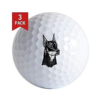 CafePress - Doberman Head - Golf Balls (3-Pack), Unique Printed Golf Balls