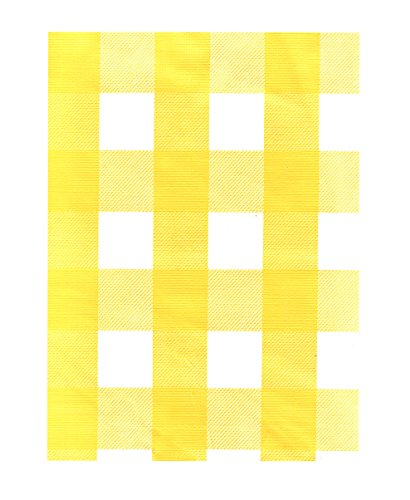 Design Vinyl Umbrella Tablecloth (Yellow White Check Vinyl Tablecloth with Umbrella Hole and Zipper - 70 Round by CHF)