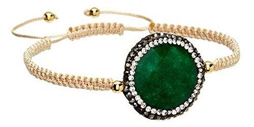 Kevia | Adjustable Wrap Macrame Bracelet | Green Onyx Gemstone | Turkish Pave Set Crystals | Hand Braided Tan Cord