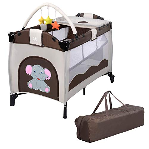 Giantex Nursery Center Playyard Baby Crib Set Portable Nest Bassinet Bed Infant Kids Travel Playpen Pack Deluxe Double-Layer Beds Pocket Diapter Changer Cribs Nursery Centers w/Bag & Caster (Child Of Mine Crib And Changing Table Combo)