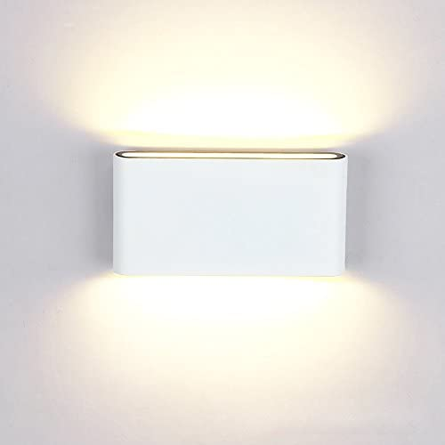 BRILLRAYDO 12W LED Outdoor Exterior Wall Sconces Step Down Light Fixture Lamp White Finish Warm White