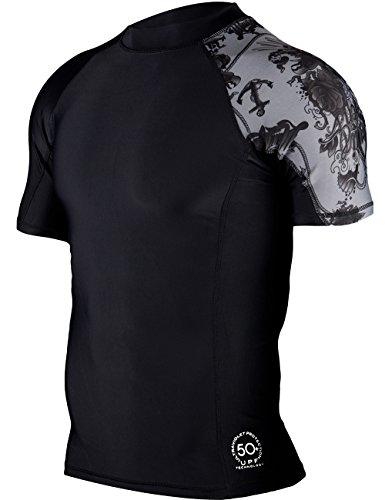 Huge Sports Mens Splice Uv Sun Protection Upf 50  Crew Neck Skins Rash Guard Short Sleeves  Black  Xl