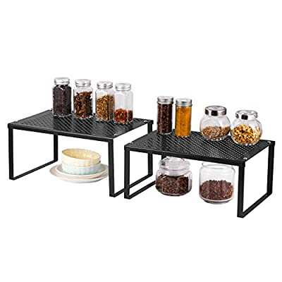 Nandae 2-Pack Kitchen Bathroom Cabinet and Counter Shelf Organizer, Stackable Expandable Storage Rack Spice Rack, 12.7'' L x 9'' W x 6'' H, Black - ⌛【Design】 The shelf organizer include two size shelves can be stackable or aligned to each other. ⏳【Dimension】Large Shelf 12.7'' L x 9'' W x 6'' H. Small Shelf 12.7'' L x 8.7'' W x 5.7'' H. ⌛【Stackable and Extendable】The height of 2 stacks is 11.7''. The Length expandable from 12.7 to 23.9 inches. - organizers, bathroom-accessories, bathroom - 41WKxR9MpUL. SS400  -