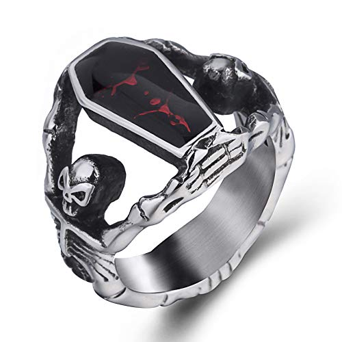 Elfasio Skull Rings for Men Stainless Steel Gothic Vampire Bloody Red Enamel Coffin Bike Jewelry Size 11