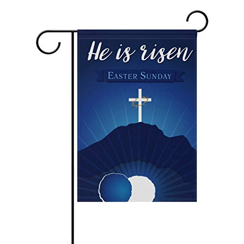 (He is Risen Easter Day Polyester House Garden Flag Banner 28 x 40 Inch for Anniversary Family Garden Decor)