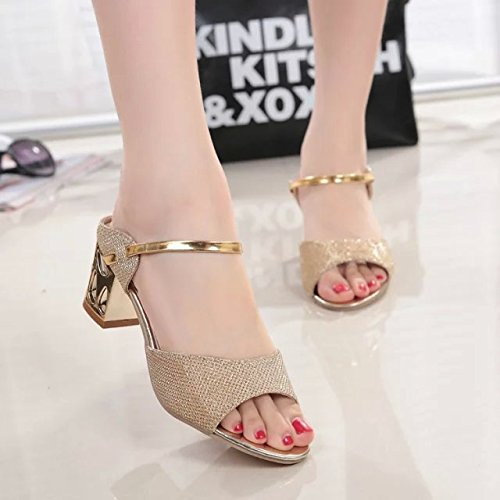 KHSKX-Coarse Fish Mouth Shoes Sandals In Summer Fashion Female Golden All-Match Korean Female Thirty-six 8zHDpe