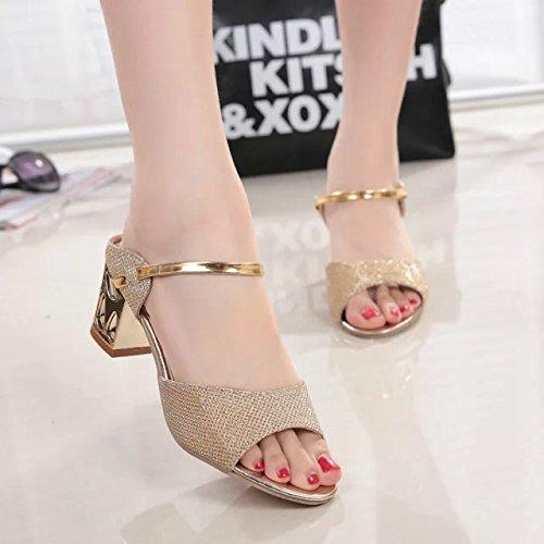Gruesos Y Sandalias Boca Todos Coreana Pez Zapatos En Ocho Coinciden Mujer Golden Moda KHSKX nine Golden Una Con De Verano Hembra Treinta Thirty X4Hwq4g