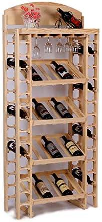FPigSHS Armarios para Vino Estantería de Vino Soporte de exhibición de Vino de Madera Maciza, Bodega Bar Posavasos Vinoteca de pie Estante de Almacenamiento de Botellas múltiples