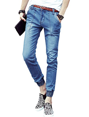 uxcell Men Mid Rise Smocked Cuffs Zip Fly Casual Skinny Jeans Blue W30