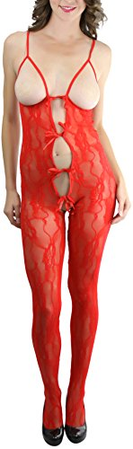 Peek A-boo Bow (ToBeInStyle Women's Peek-A-Boo Lace Crotchless Bodystocking Keyhole Bow - Red)