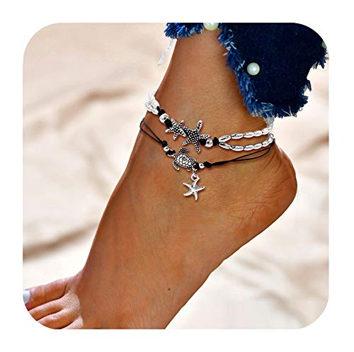 (Geerier Vintage Starfish Turtle Anklet Retro Silver Handmade Sea Animal Ankle Bracelet Beach Foot Chain Jewelry For Women 2pcs Pack)