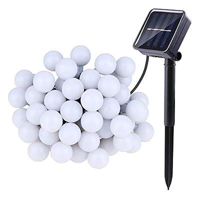 Forart Solar Powered String Light, 50LEDs Wateproof Outdoor Ball Fairy Bulb for Holiday Christmas Wedding Garden Decor(22.9feets / 7m)