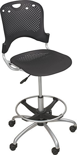 Balt Circulation Stool for Sit Stand Desks, Black Seat Back, Five Star Base, Casters (34798)