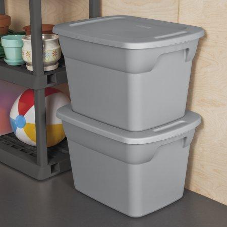 Sterilite 18 Gallon (72 Quart) Heavy Duty Durable Storage Tote Box- Steel - multi package (16 units)