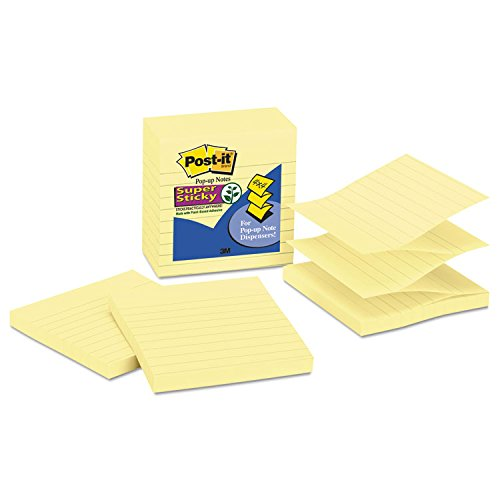 Post-it R440YWSS Pop-up Notes Refill, Lined, 4 x 4, Canary Yellow, 90-Sheet, 5/Pack