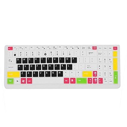 eDealMax Silicona teclado del ordenador portátil de la piel cubierta de la película Blanco Negro Para