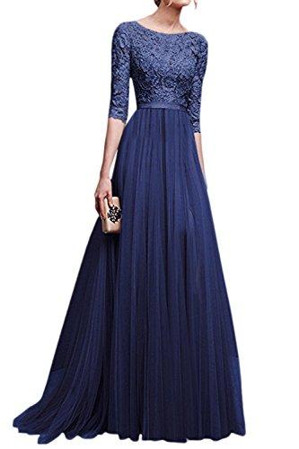 La Mujer Elegante Cuello Redondo Scoop Gasa Partido Formal Ajuste Y Flare Swing Maxi Dress Azul