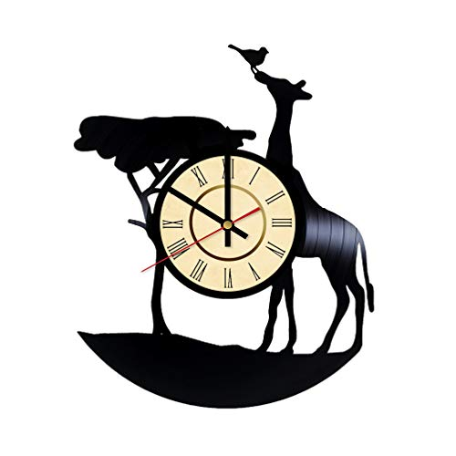 Giraffa Vinyl Clock Gifts for Wild Animals Fans Africa Wall Decor South Africa Art Somali Handmade Living Room Artwork