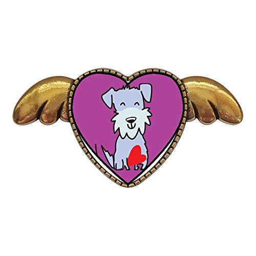 GiftJewelryShop Ancient Style Gold-Plated Schnauzer Dog Heart with Simple Angel Wings Pins ()