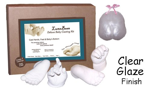 Luna Bean Deluxe 3D Prints Baby Casting Kit - Mold and Cast Infant Foot and Hand (Clear Glaze) by Luna Bean
