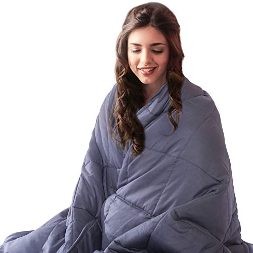 Cheap COLERLINE Weighted Blanket for Adults - 80 x 87 25lbs 100% Breathable Soft Cotton Heavy Blanket with Glass Beads - Dark Grey Black Friday & Cyber Monday 2019