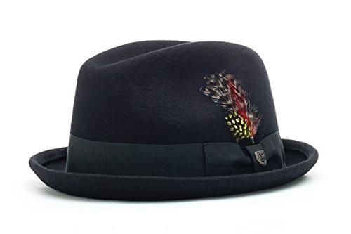 Short Brim Fedora - Brixton Men's Gain Fedora Hat, Black, Large