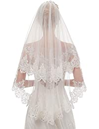 3ee1629bef94 Women s Short 2 Tier Lace Wedding Bridal Veil With Comb L24