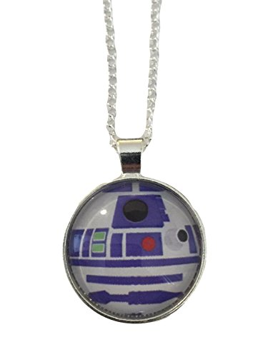 """Star Wars R2D2 Glass Dome Pendant On 20"""" Chain"""
