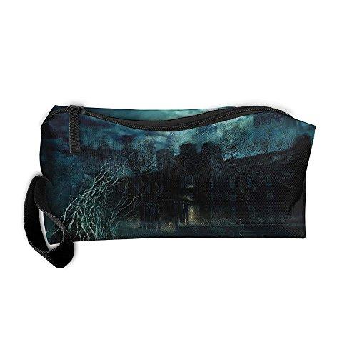 Kla Ju Portable Pen Bag Purse Pouch Ghost House Night Moon Stationery Storage Organizer Cosmetic -