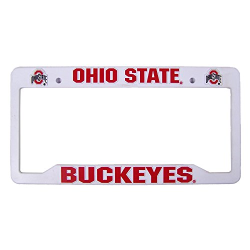 Ncaa Plastic License Plate Frame - Rico Industries NCAA Ohio State Buckeyes Sports Fan Automotive Decals, Red & White, One Size