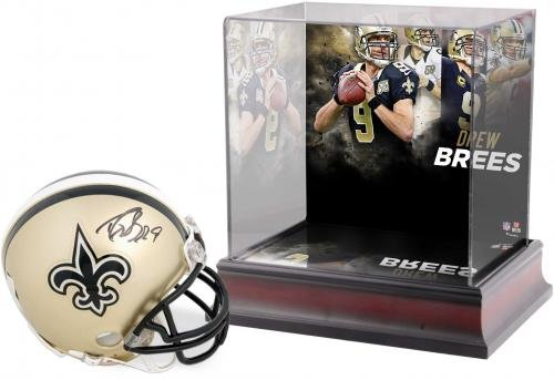 Drew Brees New Orleans Saints Autographed Riddell Mini Helmet with Deluxe Mini Helmet Case Fanatics Authentic Certified