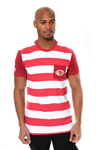 San Francisco 49ers Stripe (NFL Men's San Francisco 49ers T-Shirt Stripe Pocket Short Sleeve Tee Shirt, Small, Red)